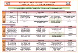 Horarios Bachiller 15-16. Cuatri. 1