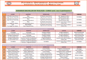 Horarios Bachiller 16-17. Cuatri. 1º