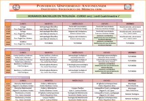 Horarios Bachiller 17-18 1º Cuatrim.