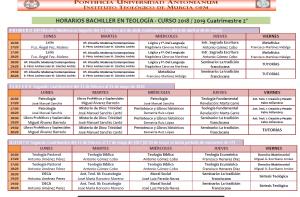 Horarios Bachiller 18-19 2º Cuatrim.