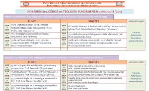 Horarios Licencia Teología 18-19