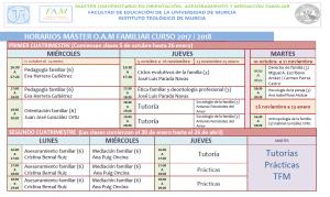 Horarios Máster Familia 17-18