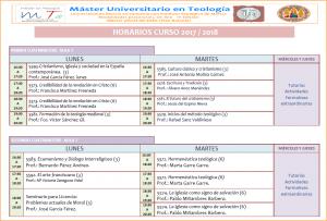 Horarios Máster Teología 17-18
