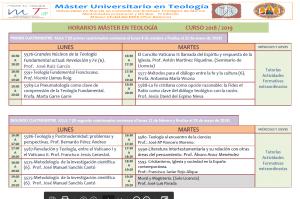 Horarios Máster Teología 18-19